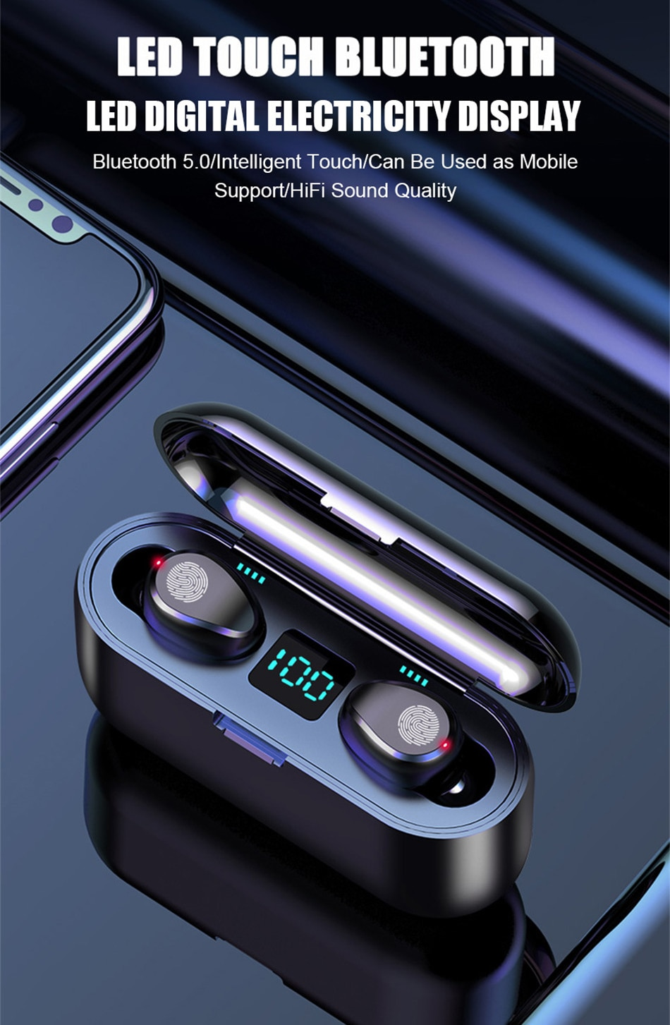 TWS V5.0 Bluetooth Earphone 8D Stereo Wireless Headphones Sport Wireless Earphones with LED 2000 mAh Charging Bin Phone Holder