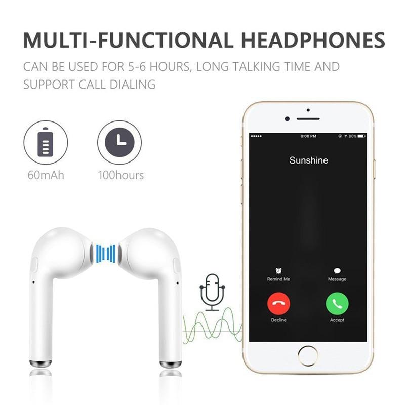 TWS i7s Wireless Headset Bluetooth Earphones Waterproof Music Headphones Sports Earbuds Business Headset Work on all Smartphones