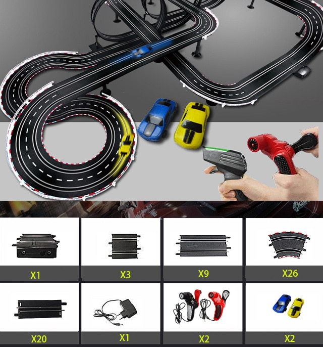 Electric Track Railway Remote Control Car Train Toys Autorama Racing Track Circuit Voiture Slot Car Railway Toys For Boy Kids